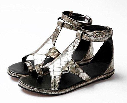 Peep Toe Knöchelriemen-Pumpe Fünf-Spitz-Stern-Sandalen Metall-Farbband eingewickelt um die Zehe Dicke Boden Flache Sandalen Große Schuhe Gold