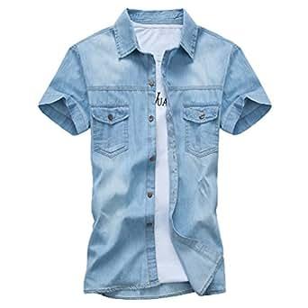 Dooxi Adolescenti Slim Fit Camicia di Jeans Estate Manica Corta Casual Camicie Azzurro M