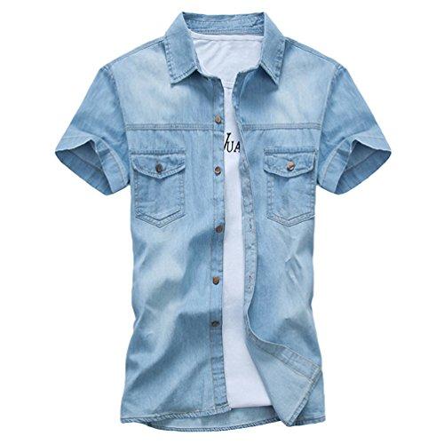 Dooxi adolescenti slim fit camicia di jeans estate manica corta casual camicie azzurro 2xl