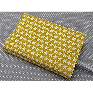 Buchhülle Buchumschlag Taschenbuch A5 Notizhülle Gelbe Sterne