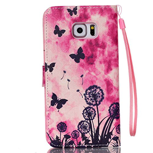 Meet de Samsung Galaxy S6 Edge Plus Bookstyle Étui Housse étui coque Case Cover smart flip cuir Case à rabat pour Galaxy S6EdgePlus / S6Edge+ Coque de protection Portefeuille - this iphone is locked s papillon de pissenlit