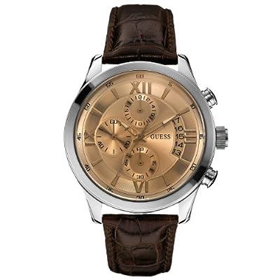 Guess W0192G1 - Reloj cronógrafo de cuarzo para hombre con correa de piel, color marrón