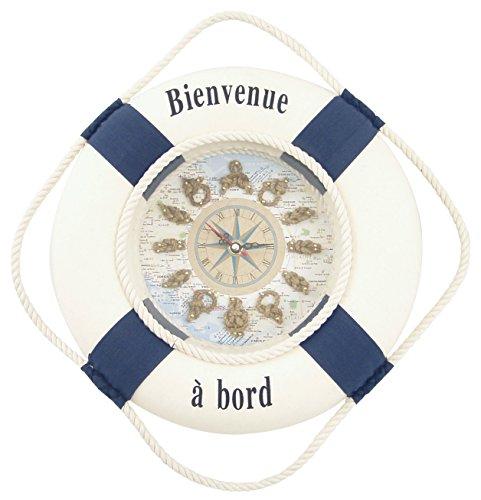 Générique 662 Objet de Décoration Bouée Horloge Bienvenue à Bord Tissu Blanc/Bleu 30 x 30 x 6 cm