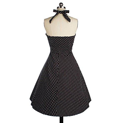 Dabag -Mujeres Taille Serrée robe dos nu Polka à pois Robe swing cou V robe plissée robe de licou cocktail (L, Bleu) Noir