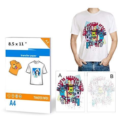 10 fogli di carta trasferibili su magliette per stampanti a getto d'inchiostro, formato A4, per tessuti di colore chiaro