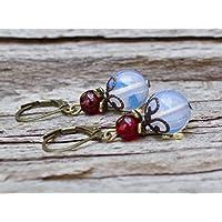 Vintage Ohrringe mit Opal Glasperlen & Granat - weiß, blutrot & bronze