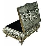 Unendlich U Luxus Schmuckkästchen Rectangle-Form War Horses Engraving Schmuckkasten für Damen,Reines Zinn-Schmuckstück,Silber-Small