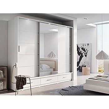 Brand New Modern Bedroom Mirror Sliding Door Wardrobe ARTI 1 In Matt White  250cm Sold By