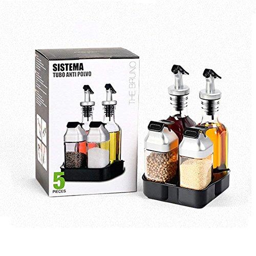 AUBEBE - Juego de botellas de aceite, dispensador de aceite para cocina, incluye dispensador de aceite, dispensador de vinagre, salero y pimentero, para cocina, restaurantes, mesas (4 paquetes)