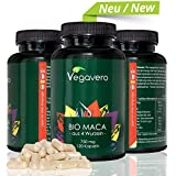 Maca BIO Vegavero - 100% Radice di Maca in Polvere - da 4 Varietà BIO | Potenza - Energia - Umore - Libido | 120 capsule da 750 mg | Naturale - No Glutine | Certificati a disposizione!