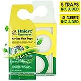 Trappole per tarme naturali per vestiti e moquette, trappole per tarme al feromone per prevenire la riproduzione e la reinfestazione delle tarme - Confezione da 5 efficace cattura tarme con 10 inserti