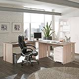 Möbel Pracht Eckschreibtisch Schreibtisch Winkelschreibtisch in Sonoma-Eiche Dekor