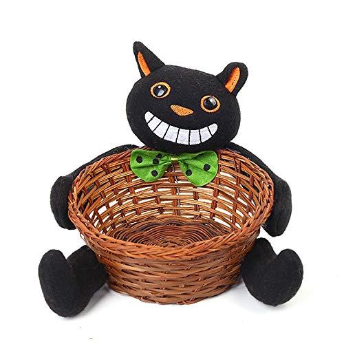 Neue Dekorationen Halloween Bambus Korb Zucker Obstkorb Großhandel Home Office Desktop, große Schwarze Katze ()
