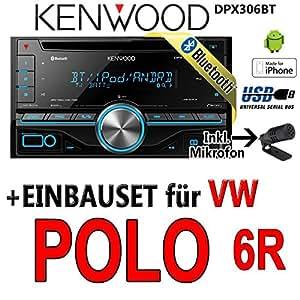 VW Polo 6R - Kenwood DPX306BT - 2DIN Bluetooth USB Autoradio - Einbauset