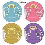 24 Engel Aufkleber mit Heiligenschein zum Beschriften für Freunde und Familie, bunt, MATTE universal Papieraufkleber für Geschenke, Etiketten für Tischdeko, Pakete, Briefe und mehr (ø 45mm