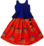 #10: MMW Baby Girl's Birthday Party wear Readymade Dress (Lehenga Choli_Red-Blue_Size - 1 Years to 9 Years old)