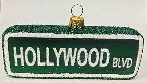 Pinnacle Peak Trading Company Hollywood Boulevard Street Sign Polish Glass Christmas Ornament California USA