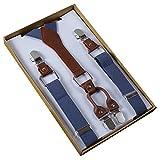 Panegy Unisex Y-Form 4 Clips Hosenträger Damen Herren Hoch Elastisch Hosenträger Längenverstellbar 2.5*105cm - Einfarbig Blaugrau