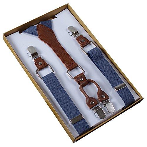 4 Clips Hosenträger Damen Herren Hoch Elastisch Hosenträger Längenverstellbar 2.5*105cm - Einfarbig Blaugrau (Hosenträger Hochzeit)