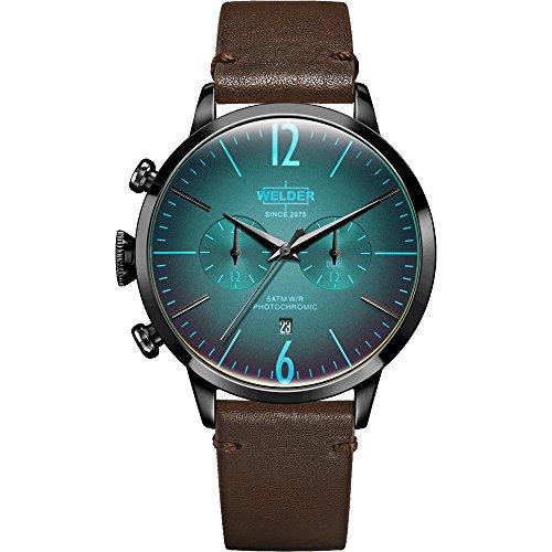WWRC207 Welder Moody - Reloj unisex con correa de piel y caja con acabado IP marrón.