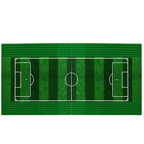 LOSGO 2 Stück Platten für Lego Fußball, Bauplatten Fußballplatz 25,4 x 25,4 cm für Lego