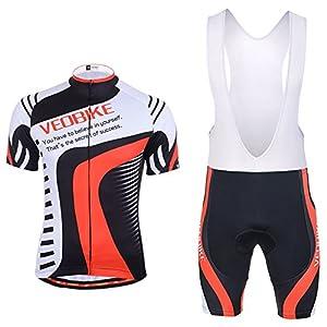 Veobike maillot de ciclismo de manga y culote corto con tirantes y almohadilla acolchada, tejido transpirable y de secado rápido, para hombre, hombre, color negro/rojo, tamaño Asian Size L (UK / S)