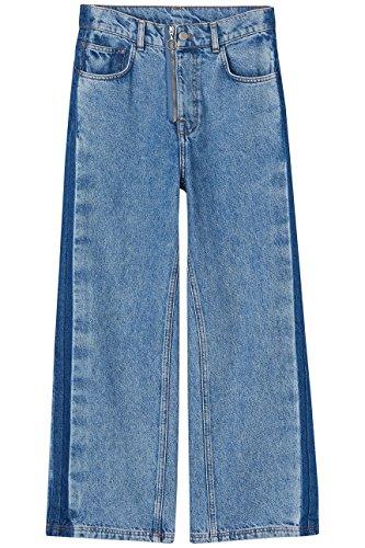 FIND Damen Kurzgeschnittene Schlagjeans mit Reißverschlussdetail, Blau (Light Blue), W32/L32 (Herstellergröße: Large)