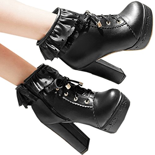 Partiss Damen Suess High-top Boots Casual Schuhen Lolita Pumps Herbst Winter Platform Hochzeit Tanzenball Maskerade Pumps Kaeltschutz Lace up Zipper Winterstiefel Winter Shoes Schwarz
