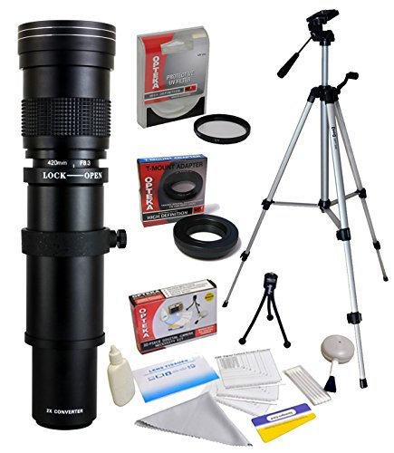 Opteka 420-1600mm F/8.3HD Teleobjektiv Zoom Objektiv mit UV-Filter und 137,2cm Stativ für Canon EOS 70D, 60D, 60Da, 50D, 7D, 6D, 5D, 5DS, 1Ds, T6s, t6i, T5i, T5, T4i, T3i, T3, T2i und SL1Digital SLR Kameras (Filter T5i Objektiv Für Canon)