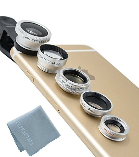 Elfenstall 5 in 1 Clip-On Kamera Adapter Optische Weitwinkelobjektiv FishEye Fischauge Objektiv...
