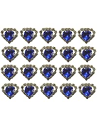 Jewellery of Lords 20 Blue Heart Shaped Large Coloured Crystal Hair Pin with Clear Mounted Crystals Hairpin