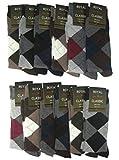 #8: Krystle Men's Calf Length Woolen Thick Terry Argyle Socks (Pack of 12 Pairs winter wear socks)