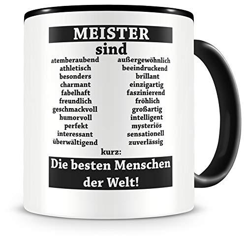 Samunshi® Meister sind Tasse Beruf Geschenk Kaffeetasse Teetasse Kaffeepott Kaffeebecher Becher Meister sind. 300ml schwarz