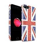 Stuff4® Matte Duro Snap On Custodia/Cover/Caso/Cassa del Telefono per Apple iPhone 8 Plus/Unione Jack Bandiera/Britannico / Effetto Motivo Glitterato Disegno