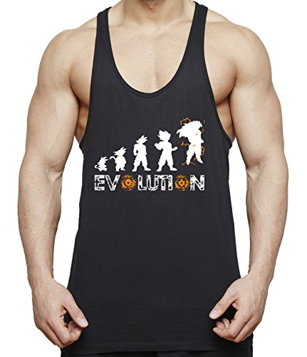 Evolution Son Goku Herren Tank Top Fitness Gym Shirt Stringer Dragon Master Ball Vegeta Turtle Roshi Db, Farbe:Schwarz;Größe:S (Ball Von Dragon Fitness Z Shirts)