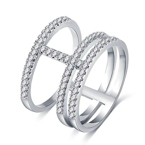 Adisaer Ring Damen Versilbert Trauringe Silber Drei Linien CZ Kristall Breiter Ringe Größe 54 (17.2) Bandring Für Frauen Hochzeit