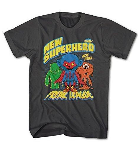 Herren T-Shirt Super Hero Freak Liga Comic Cartoon Game Movie Anthrazit