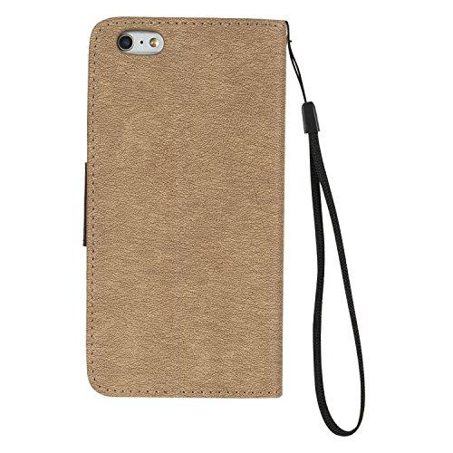 BONROY® Coque pour Apple iPhone 6 / 6S Plus (5,5 pouces),Housse en cuir pour Apple iPhone 6 / 6S Plus (5,5 pouces),datura étui en cuir PU Cuir Flip Magnétique Portefeuille Etui Housse de Protection Co d'or
