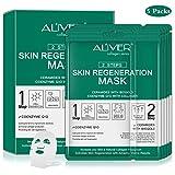 Maschera rigenerante per la pelle, ceramidi con biogold e coenzima Q10 con collagene, rigenerazione cellulare a 2 passi, idrata e migliora l'elasticità della pelle, ammorbidisce le rughe