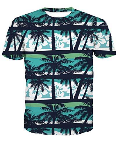 Sykooria Herren Palme Tshirt Kurzarm 3D Sommer Hipster Grafik Obst Lässig Unisex Dame Männer T-Shirts Blau - Shirt Grafik