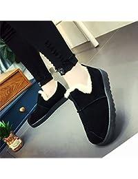 la Sra. Botas de Nieve de Invierno Más Botas Cortas Planas de Cachemira Cruzan Zapatos de Nieve Cálida Casa,Negro,38