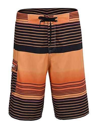 Nonwe Herren Sommer Surf Board Shorts Sport Trunks mit Futter Orange2