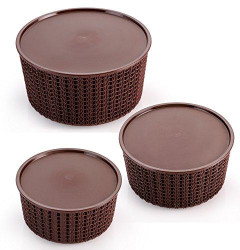 Selvel Target Basket Set of 3 (Dark Brown)