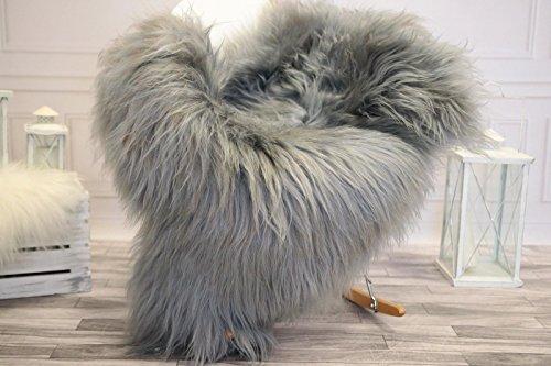 Amazinggirl Lammfell Teppich Schaffell echt langhaar -SchafsfellFell deko FellteppichSheepskin (Grau, (XL) 110-115 cm)
