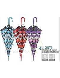 PERLETTI 25975 Lady 61/8 Aut Rayas/Lunares patrón Paraguas Resistente al Viento