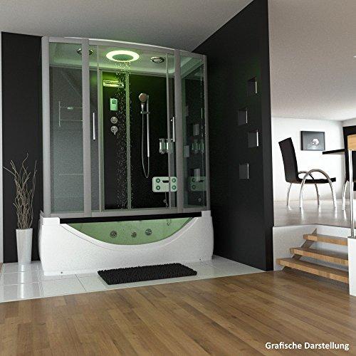TroniTechnik Dampfdusche Duschtempel Whirlpool Badewanne Komplettdusche Duschkabine Dusche 170x90 schwarz - 2