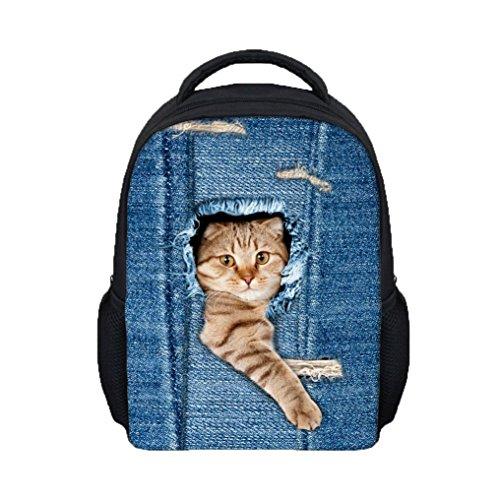 Preisvergleich Produktbild Backpage Kid sunnymi Rucksack,Mode 3D Katzen Denim Loch Stil School Bags (C, 31*26*10cm)