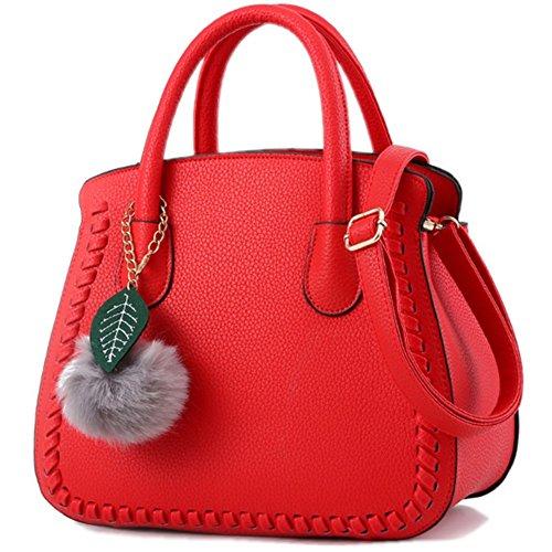 Sac a main Femme Simple Mode Sacs à main en PU Cuir Sac d'épaule Pour Filles Rouge