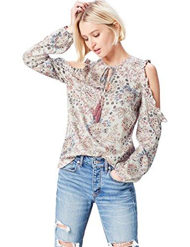 Find. cold shoulder paisley  camicia donna, bianco (navy mix), 42 (taglia produttore: small)