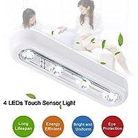 Armadio luci LED tlh® Fai da te Stick-on ovunque a risparmio energetico 4LED TOUCH rubinetto push luce ricaricabile a LED per armadietti, armadi, sottotetti, garage, auto, capannoni, spazio